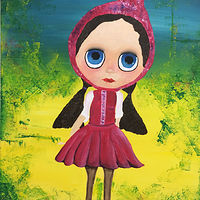 Acrylic painting Little Pink Riding Hood by Laura Munteanu