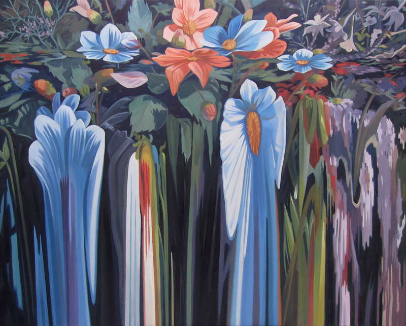 Oil painting Flowerfall IV by Robert Porazinski