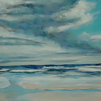 Oil painting Daytona clouds left side  by Michelle Marcotte