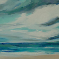Oil painting Daytona clouds right side April by Michelle Marcotte