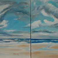 Oil painting Daytona Clouds Together  by Michelle Marcotte
