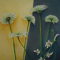Painting Ann's Arrangement inset of Gerberas by Michelle Marcotte