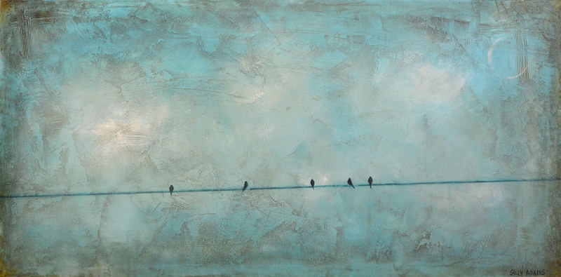Acrylic painting Five On Line by Sally Adams