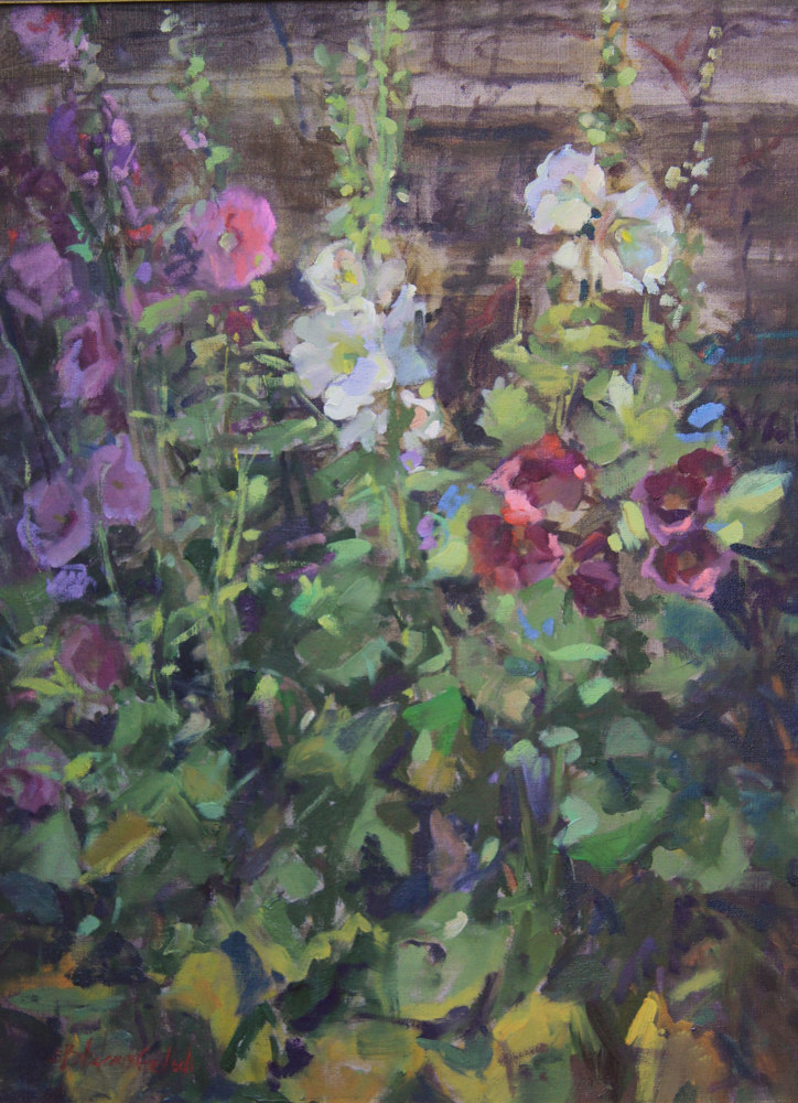 Oil painting Montana Hollyhocks by Susette Gertsch