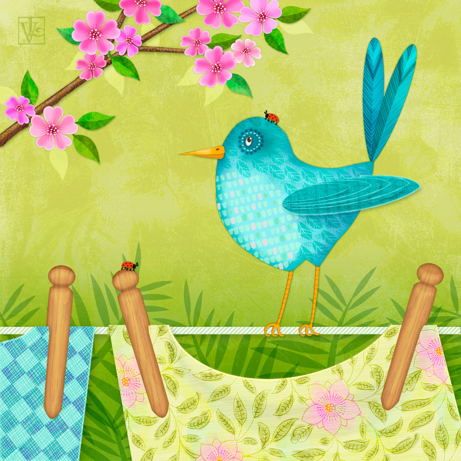 Bird on Clothesline: Hello Spring! by Valerie Lesiak