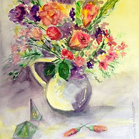 Watercolor Spring Bouquet by Karen Brodeur