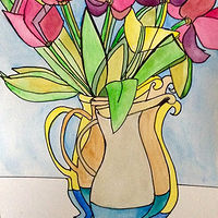 Watercolor Pink Tulips - Cubed by Karen Brodeur
