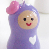 Painting Double Hearted Girl. Karokeshi pendant charm series. by Carolina Seth