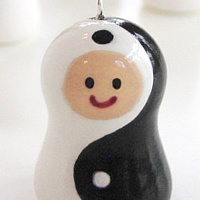 Painting Yin and Yang. Karokeshi pendant charm series. by Carolina Seth