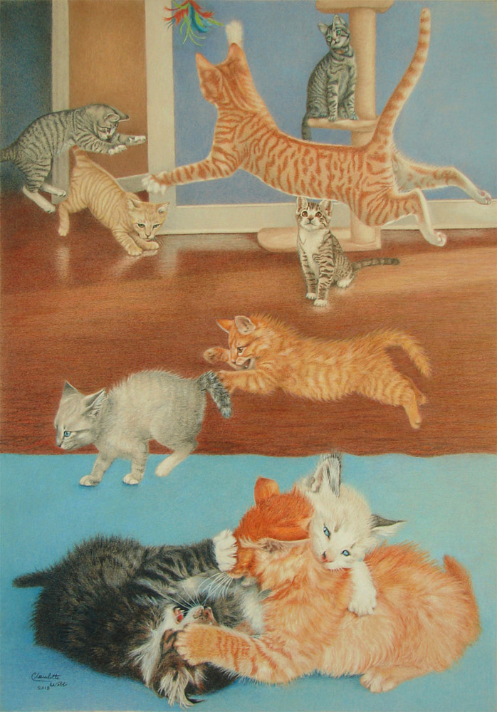Drawing Robyn's kittens by Claudette Webb