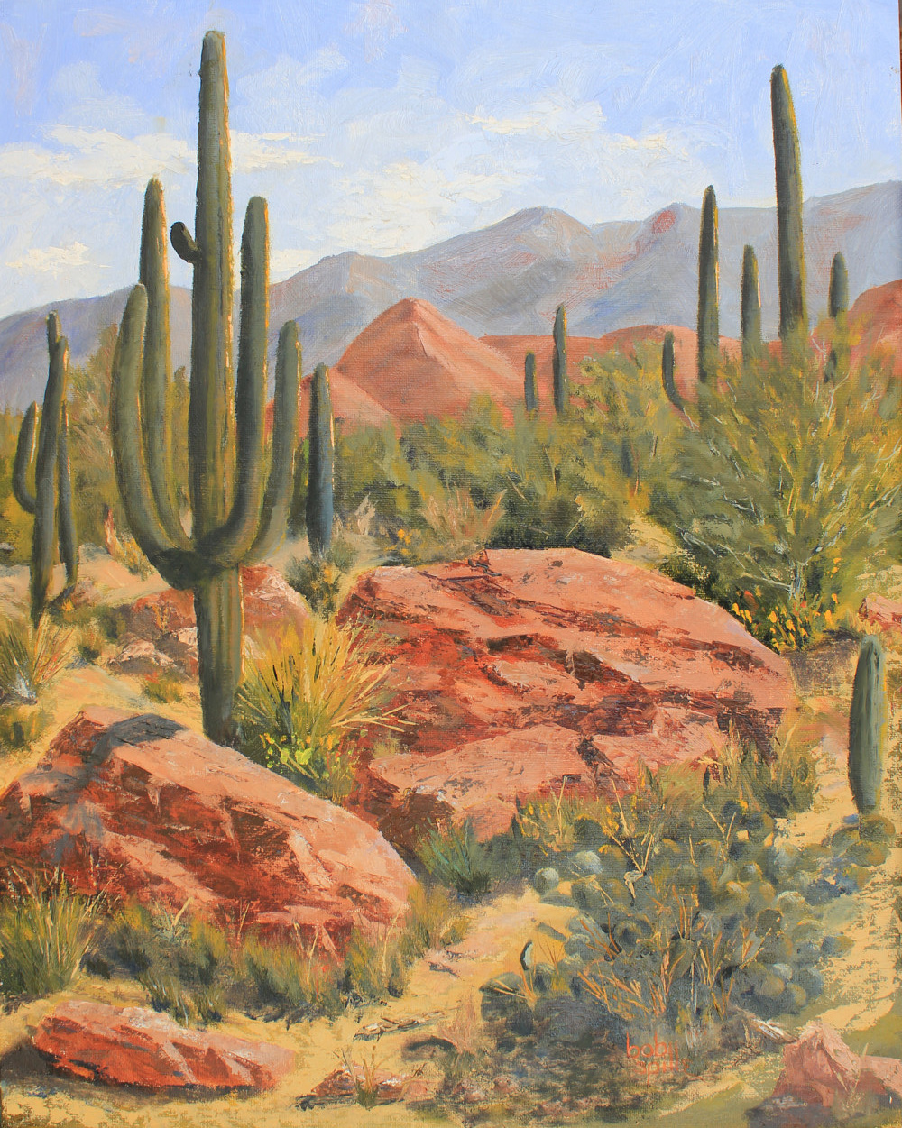 Oil painting Guardians of the Catalinas by Bob Spille