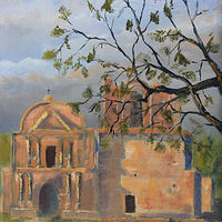 Oil painting Tumacacori Mission by Bob Spille
