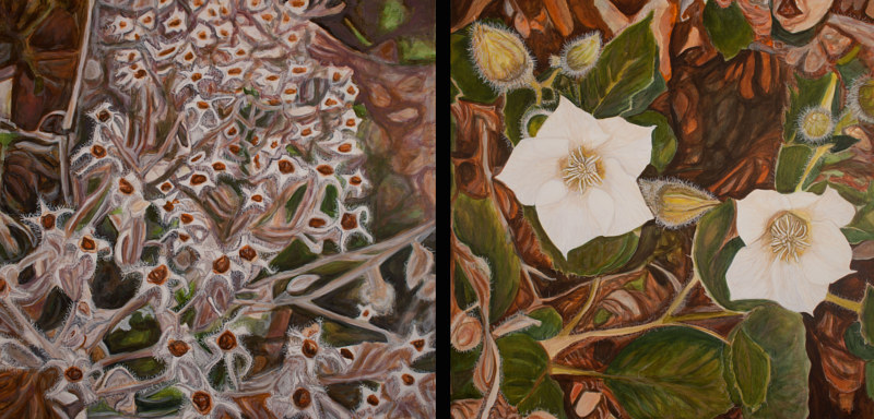 Acrylic painting After Winter Must Come Spring (diptych) by Crystal Dipietro