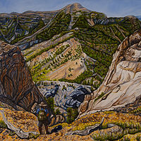 Oil painting Charelston Peak From Mummy Mountain by Crystal Dipietro