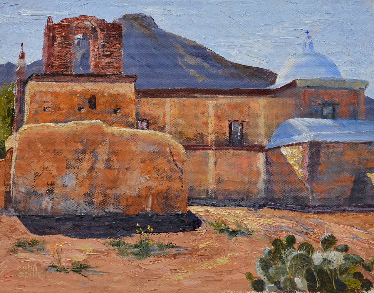 Oil painting Tumacacori Mission - Frontier Solace by Bob Spille