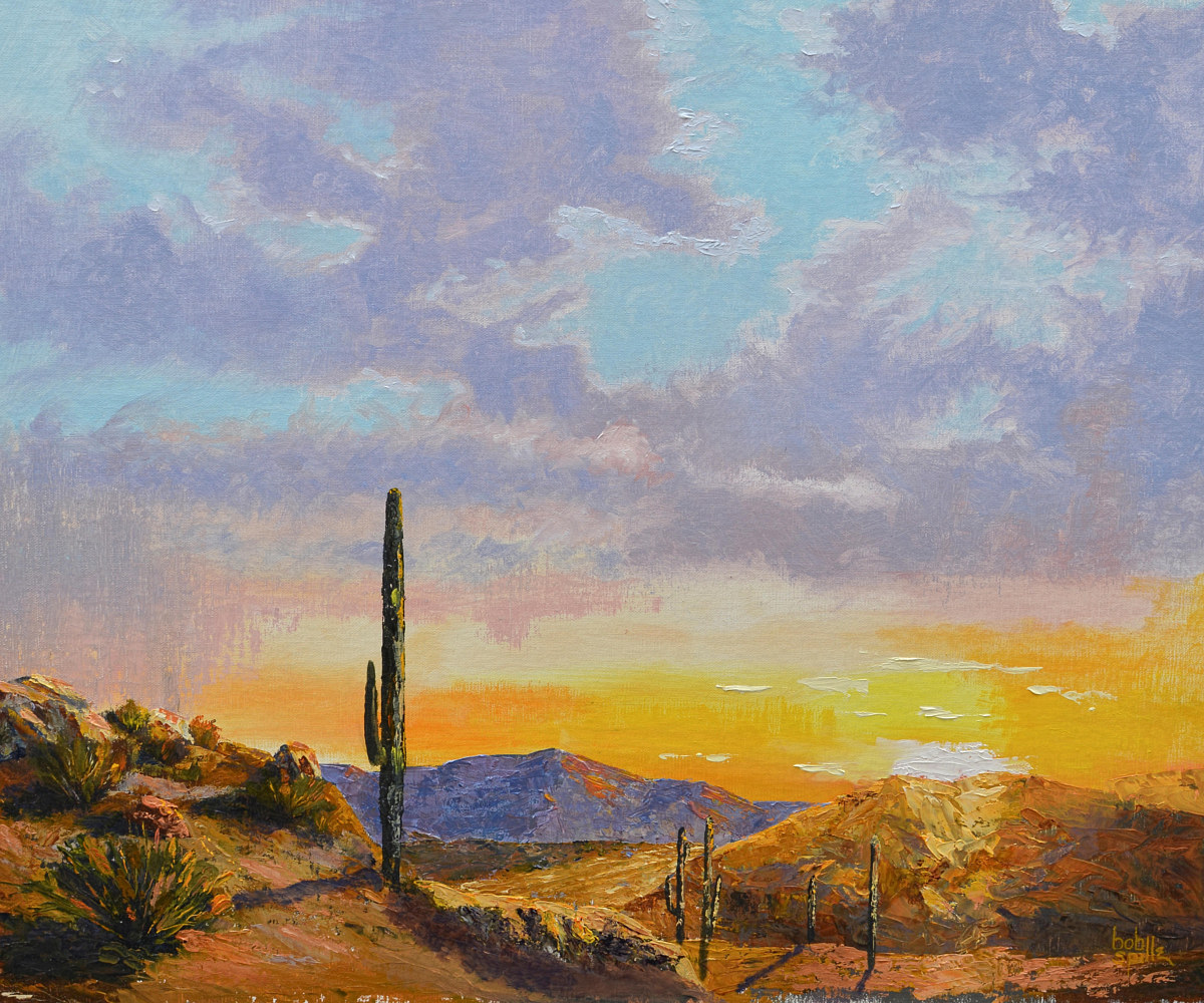 Oil painting Monsoon Sunset by Bob Spille