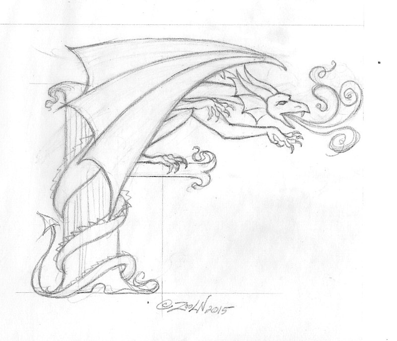 "Drawing hicsuntdraco sketch ""F"" by Sue Ellen Brown"