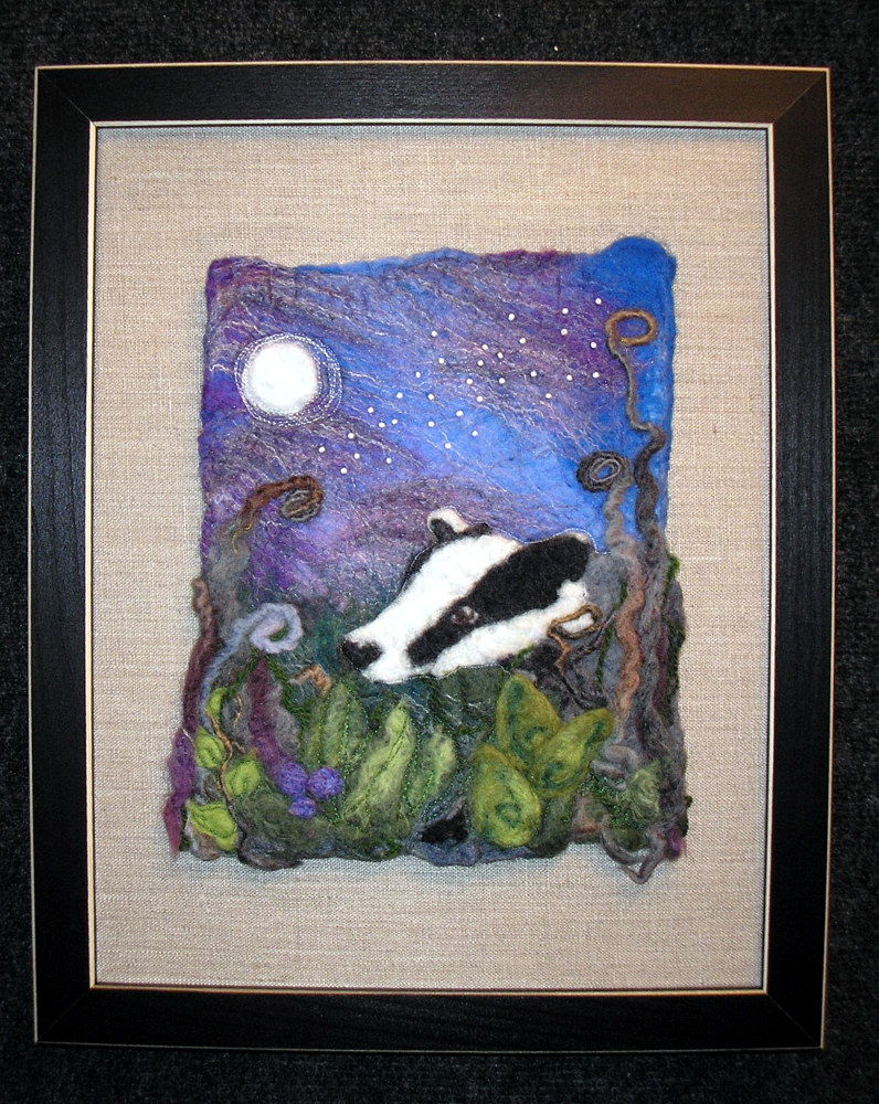 Badger in the moonlight by Valerie Johnson