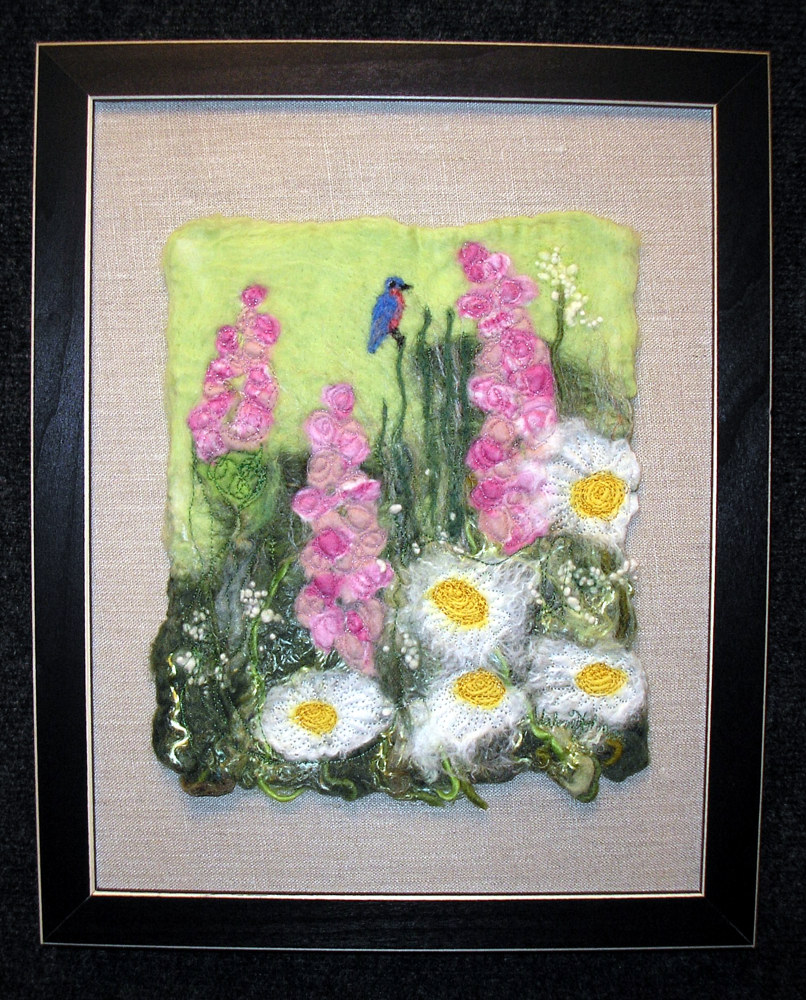 Blue bird with Daisies by Valerie Johnson