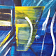Acrylic painting In the Train | Dans le Train by Nathalie Gribinski