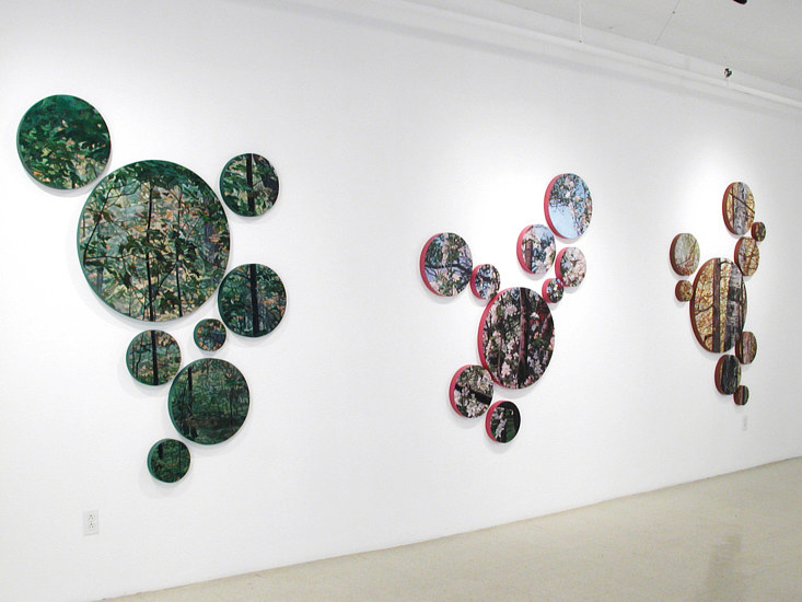 Oil painting Raga 1, 2 , 3 (Installation view) by Renee Duval