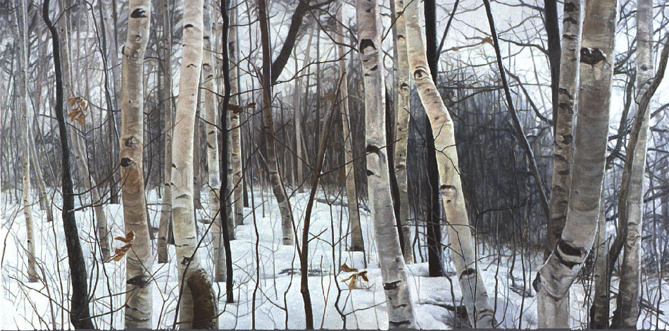 Oil painting Winter Scrub by Renee Duval
