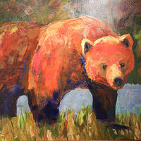 Acrylic painting Rufus - On the Prowl by Kathie Selinger