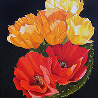 Oil painting Orange Medley (Prickly Pear) by Debbie Hart