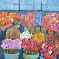 Acrylic painting At th Market- Decisions - Decisions by Kathie Selinger