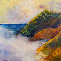 Acrylic painting and the fog rolls in by Kathie Selinger
