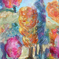 Acrylic painting Candy Floss Trees by Kathie Selinger