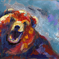 Acrylic painting  Bear series - Hello by Kathie Selinger