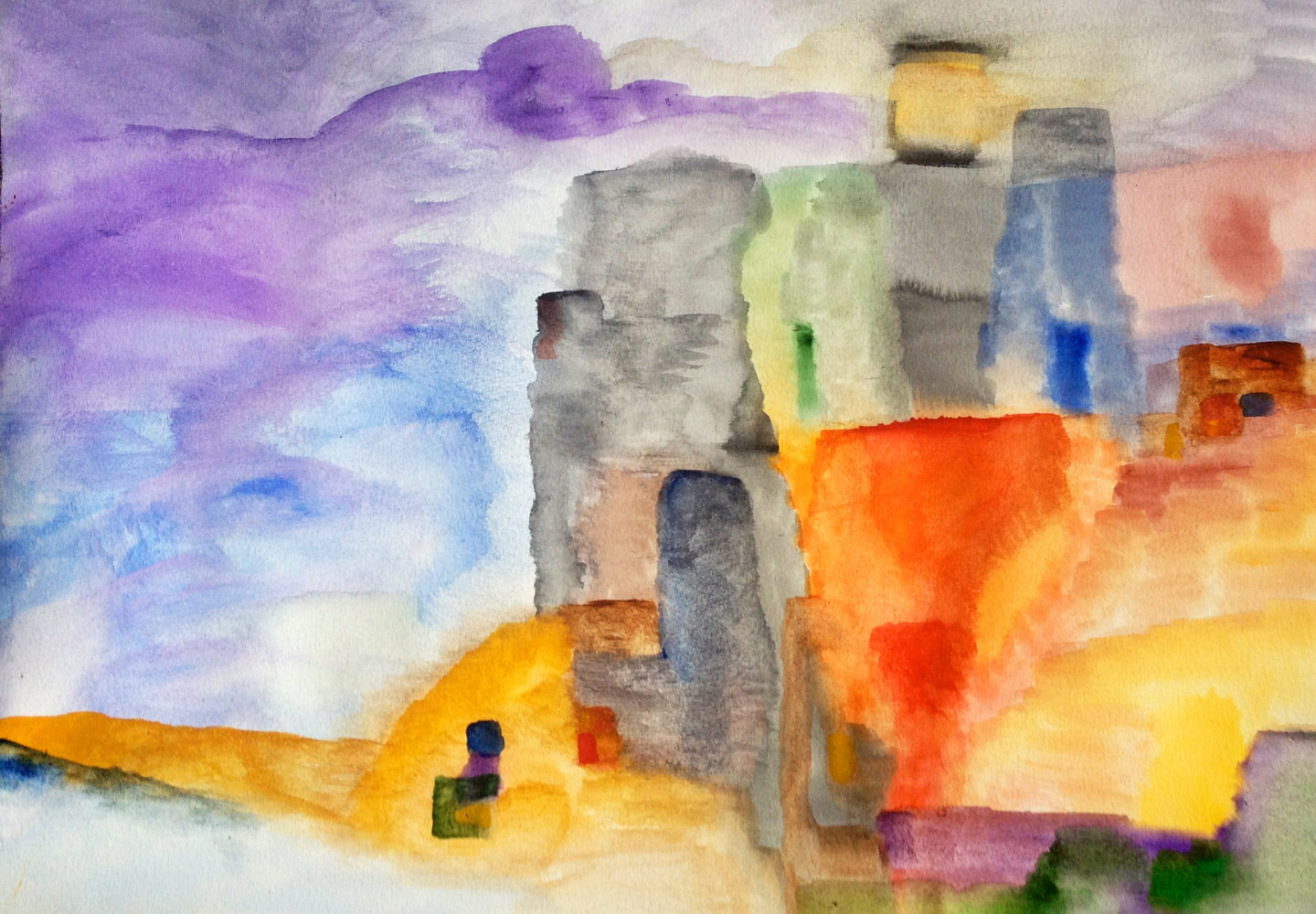 Watercolor A village in Provence | Un village en Provence by Nathalie Gribinski
