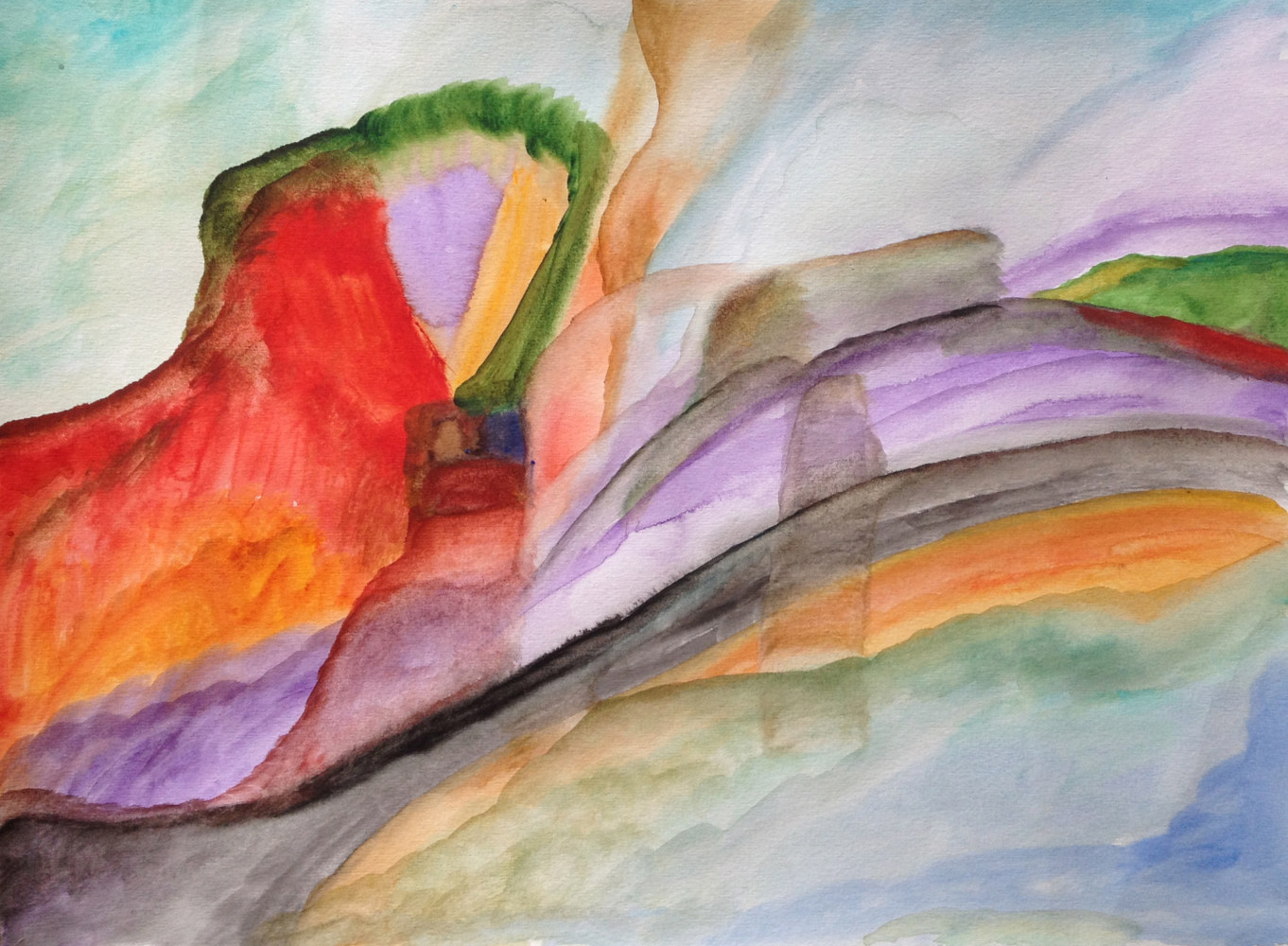 Watercolor Red Mountain | La Montagne Rouge by Nathalie Gribinski