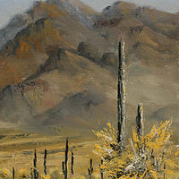 Oil painting Opposite Picacho by Bob Spille