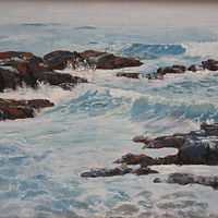 Oil painting Cloudy Day at Shell Beach by Bob Spille
