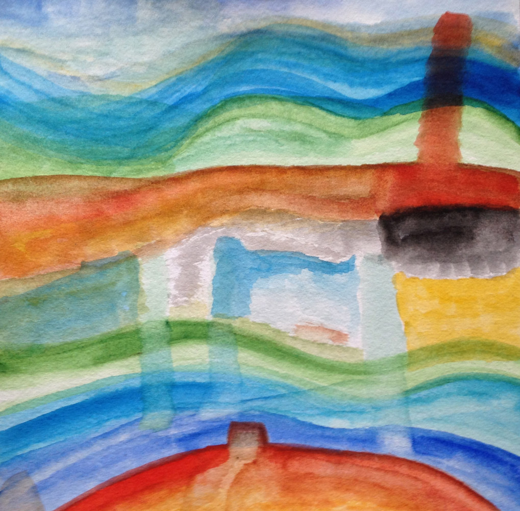 Watercolor Rainbow Wave | La Vague de l'Arc en Ciel by Nathalie Gribinski