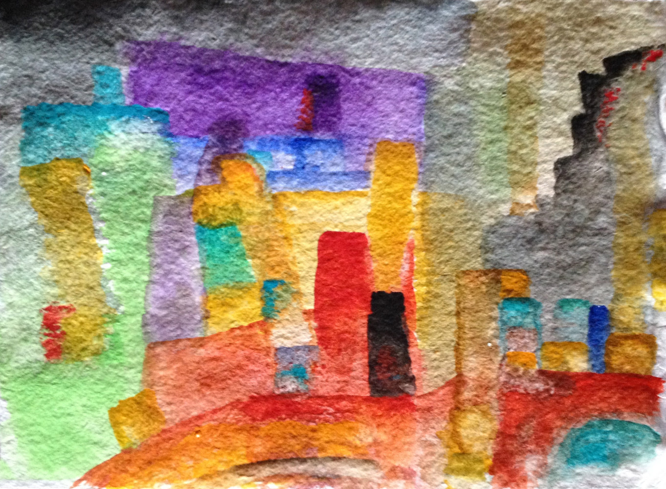 Watercolor The Golden Towers | Les Tours Dorées by Nathalie Gribinski