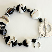 Black and Ivory Lampwork Bracelet by Debbie Hart