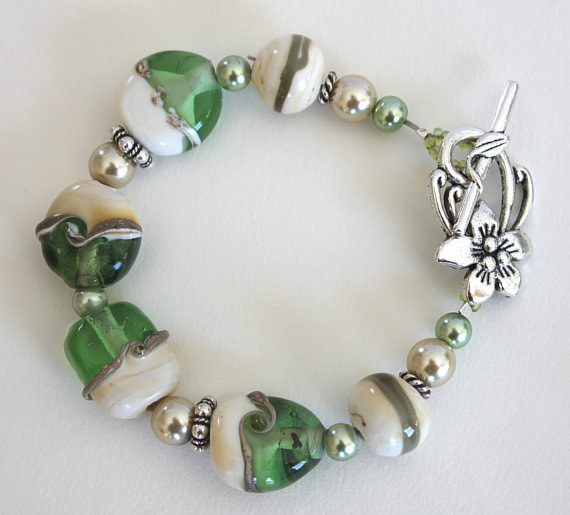 Light green lampwork bracelet by Debbie Hart