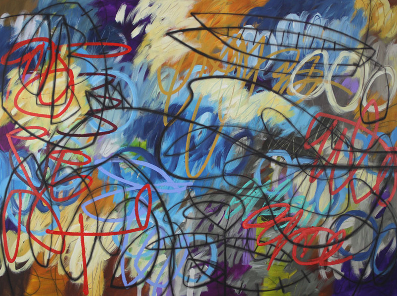 Acrylic painting Addison Paige #125 A Horse Arrives in Blues  by Addison Paige