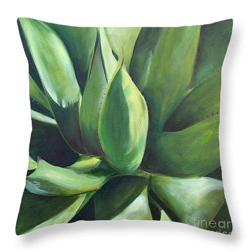 Print Cactus Throw Pillow by Debbie Hart