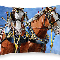 Print Best Buds, Clydesdales by Debbie Hart