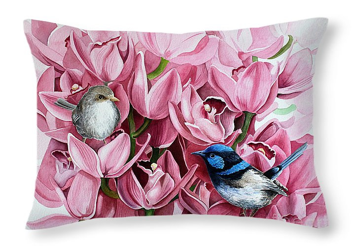 Print Fairy Wren Throw Pillow by Debbie Hart