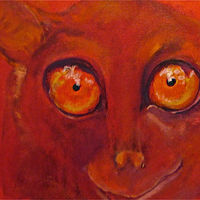 Oil painting The Philippine tarsier  by Frederica  Hall