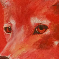 Oil painting Red Wolf  by Frederica  Hall