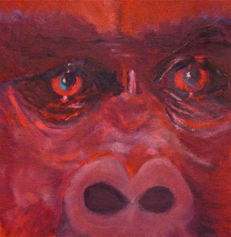 Oil painting  Michael, The Silverback Gorilla  Less then 600 in the wild by Frederica  Hall