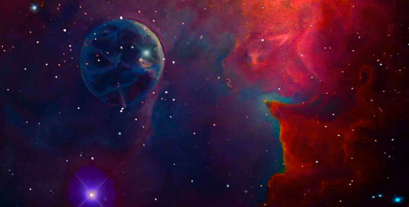 Oil painting Bubble Nebula. It is such a mystery,  that so many of the nebulas have such familiar images. by Frederica  Hall