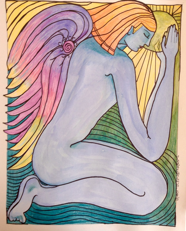 Watercolor Do Angels Pray? by Karen Brodeur