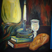 Oil painting Into a Dark and Confusing World Came The Light by Michelle Marcotte